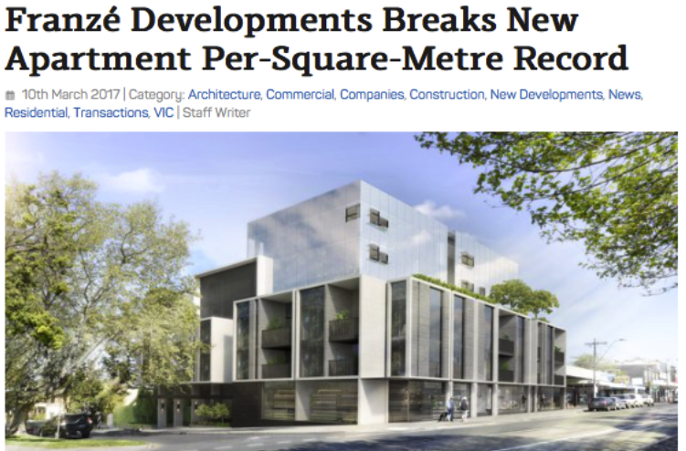 BREAKS NEW APARTMENT PER-SQUARE-METRE RECORD