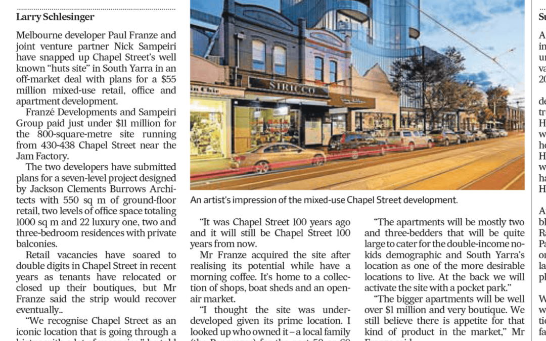 Paul Franze pounces on Chapel St Site