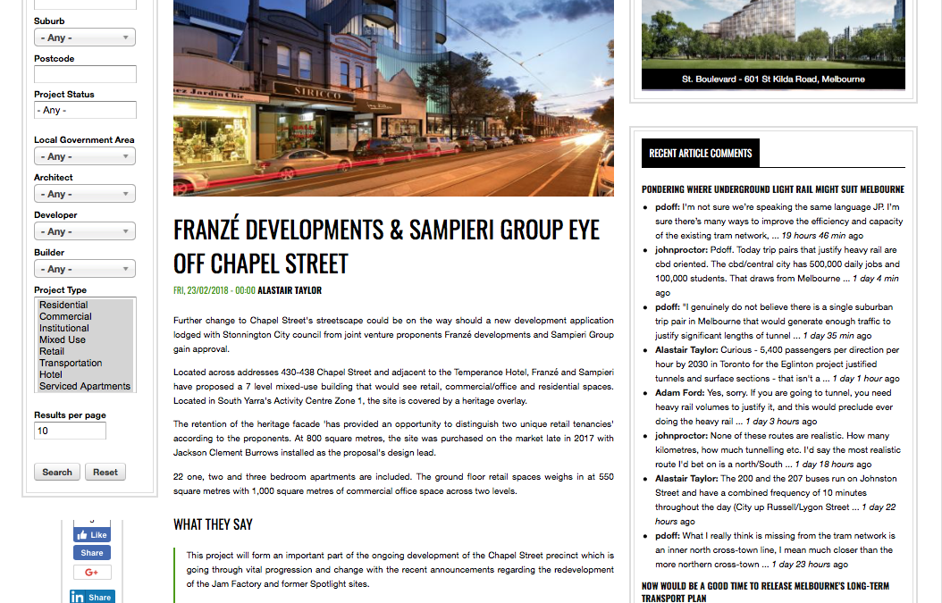 Franze Developments and Sampieri Group eye off Chapel Street